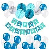 Geburtstag Dekoration Set, Kindergeburtstag Deko, Happy Birthday mit Latexballons und Wabenbälle Papier für Geburtstag Dekoration, Happy Birthday Dekoration für Mädchen und Jungen Jeden Alters - Blau