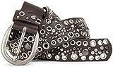 styleBREAKER Cintura borchiata con borchie con foro e strass in stile vintage, accorciabile, da donna 03010026, dimensione:100cm, colore:Marrone scuro
