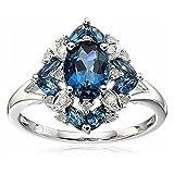 SODIAL(R) Gorgeous Aquamarine Wedding Engagement Women Ring Blue Size 10