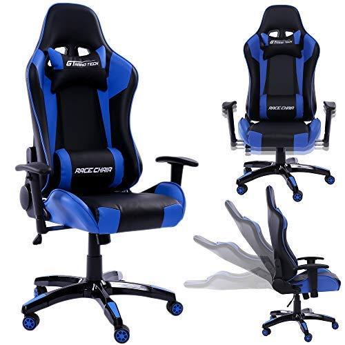 Rapid Teck® Bürostuhl Gaming Schwarz/Blau Chefsessel Schreibtischstuhl Drehstuhl Race Chair Sportsitz Racing Stuhl PU mit verstellbaren Armlehnen und Wippfunktion