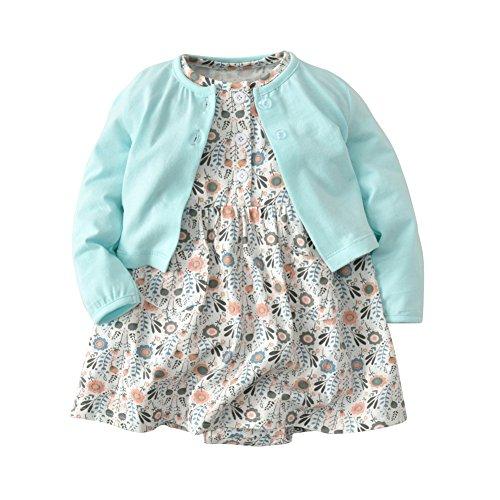 Infant Kleinkind Mädchen Kleid Set Outfit Kleidung Strampler Rock und Langarm Strickjacke Jacke 2 Stück für 0-24 Monate