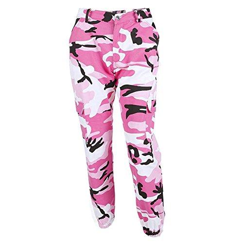 Zhien Frauen Mode Camouflage Jogger Hosen Frauen Pluderhosen Pantalon Femme Hosen Knöchellangen Jogginghose Baumwolle Camo Hosen Rosa M
