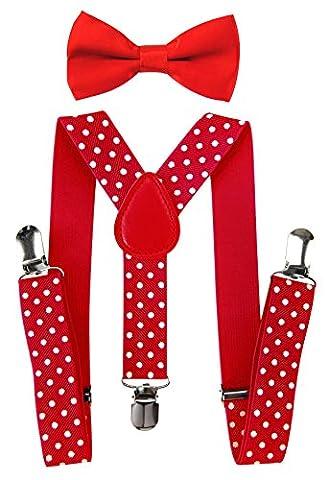axy Hochwertige Kinder Hosenträger-Y Form mit Fliege- 3 Clips EXTRA STARK-Uni Farben (Rot-Weiße