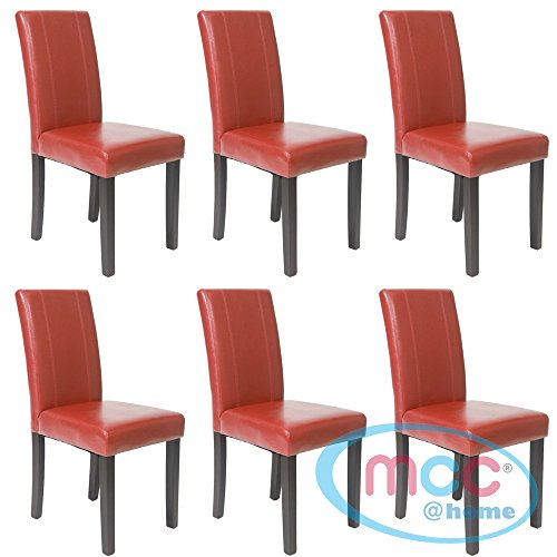 Set of 6 Faux Leather Dining Chairs For Home & Commercial Restaurants [Brown* Black* Red* Cream*] (Red)