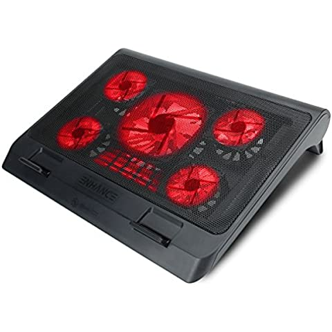 ENHANCE GX-C1 Soporte para portátil con 5 ventiladores LEDS y dos puertos USB para transferencia de datos (40 x 32 cm) – Perfecto para Apple Macbook Air , Alienware 17 , HP Omen y otros portátiles.