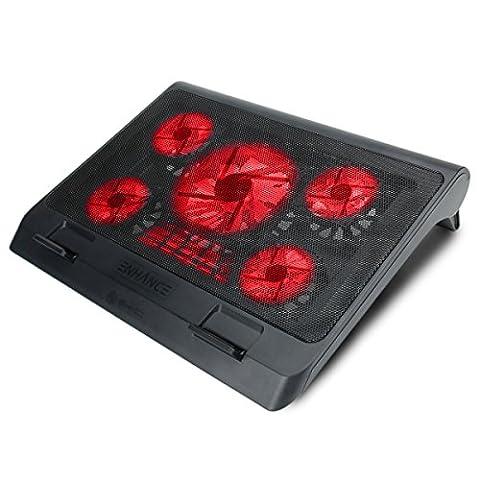 ENHANCE Support Refroidisseur PC Portable (40 x 32.4 cm) Refroidissement Rapide Equipé de5 Ventilateurs avec LED Rouges & 2 ports USB – Parfait pour Ordinateur Portable , Notebook de 17