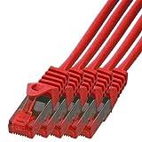 BIGtec - 5 Stück - 3m Gigabit Netzwerkkabel Patchkabel Ethernet LAN DSL Patch Kabel rot ( 2x RJ-45 Anschluß , CAT.5e , kompatibel zu CAT.6 CAT.6a CAT.7 ) 3 Meter