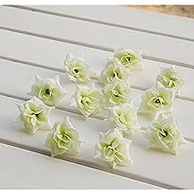 50x Cabezas de Flores de Rosa A Granel Artificial Triángulo Seda Decoración Boda Partido Crema