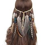 Comfysail Frauen Bohemien Feder Quasten Seil Weben Stirnband Gürtel Haarband Haarschmuck Hippie Boho Indisch Haarbänder