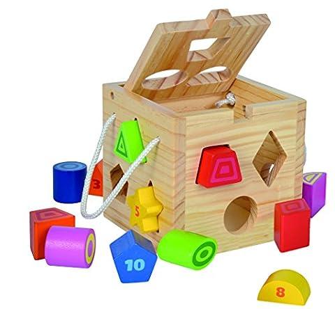Eichhorn 100002092 - Steckwürfel aus Holz, 13-teilig, Holz natur/bunt - 14,5x14,5x14,5 cm - Spielwürfel - Motorik
