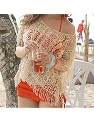 qxj calado gancho flores Bañador Robes con flecos perchero de pared de manga murciélago bikini playa niña