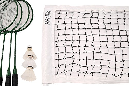 Jaques of London Badminton Set - Premium 4 player Set Includes 4 Badminton Racket Set and Badminton Net - Regency Ultimate Quality Garden Games Since 1795
