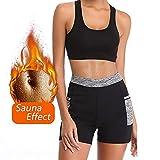 Vertvie Femme Short de Sudation Compression Minceur avec Poches Pantalon Court Sport Sauna Slim Joggings Fitness pour Perte de Pois(2XL,Noir)