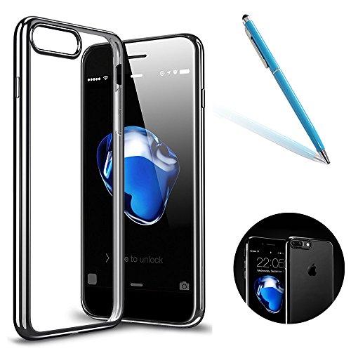 """iPhone 7Plus Handyhülle, iPhone 7Plus Slim Softcase, CLTPY Halbtransparenten [Air Cushion] TPU Schale Fall mit Stoßdämpfung & Kratzfeste für 5.5"""" Apple iPhone 7Plus (Nicht iPhone 7) + 1 x Stift - Klar Schwarz"""