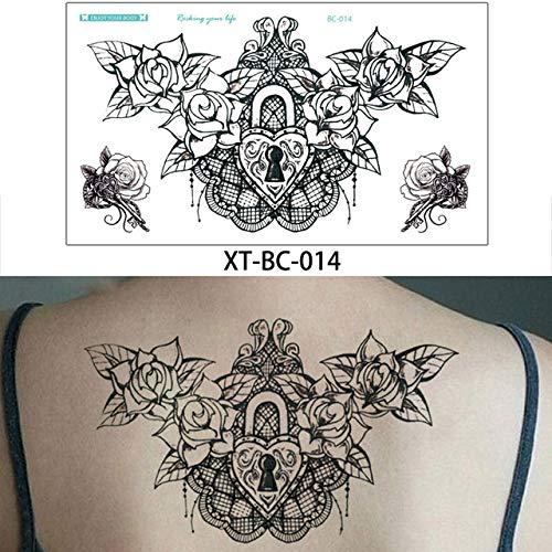 adgkitb 3 stücke Brust Körper Tattoo Temporäre wasserdichte Schmuck Spitze Aufkleber Taille Kunst Tattoo Aufkleber XT-BC-014 13,8x24 cm - Brust Grill