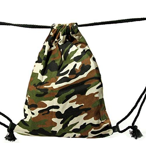 Tessuto Militare Mimetico - Borsa In Due Disegni Di Colore Marrone