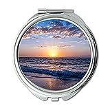 Yanteng Spiegel, Schminkspiegel, Strand Wolken Morgendämmerung, Taschenspiegel, tragbarer Spiegel