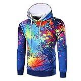 Style_Dress Herren Damen Sweatshirts Hooded 3D Digital Kapuzenpullover Langarm Tops Jungen Hoodie Pullover Sweatshirt Sweat Oberteile Bekleidung Mantel Outwear (Blau, L)