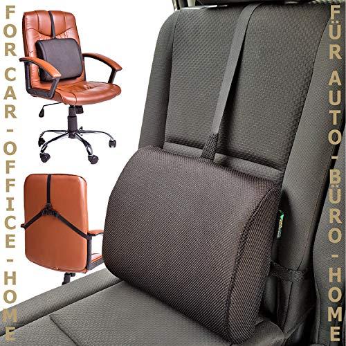 BackCares Cuscino per schiena con Memory Foam – il nostro cuscino per support lombare è adatto per uso in casa, in ufficio o in auto. Cuscino ergonomico per schiena con cover ipoallergenica, cinturino regolabile per favorire una postura corretta e donare sollievo alla schiena