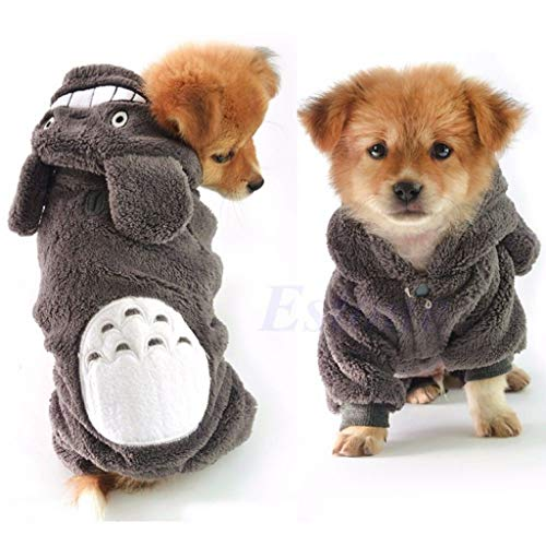 NKYSM Hund Bekleidung Winter Warm Kostüm, Haustier Totoro Hoodie Kleidung für Hunde Katzen Welpen (M)