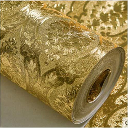 Pmhhc Luxury Classic Gold Tapetenrolle Schlafzimmer Wohnzimmer Relief Damast Tapeten Glitter Wallpapers Goldfolie