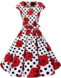 Dresstells Vintage 50er Swing Party kleider Cap Sleeves Rockabilly Retro Hepburn Cocktailkleider White Red Rose Dot L