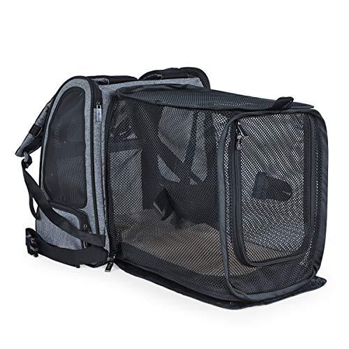 Weiche gestrebte Tiertransporter für Hunde & Katzen Komfortfluglinie unter Seat Travel Tote Bag Rucksack, Travel Bag für kleine Tiere,Black,33.5 * 26 * 26cm