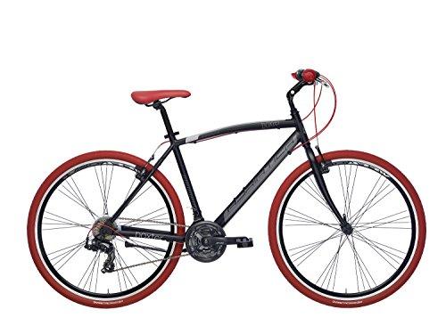 Adriatica - Bicicleta híbrida Boxter RT de hombre con cuadro de aluminio, ruedas de 28 pulgadas, cambios Shimano de 6 velocidades, Hombre, negro mate, 55