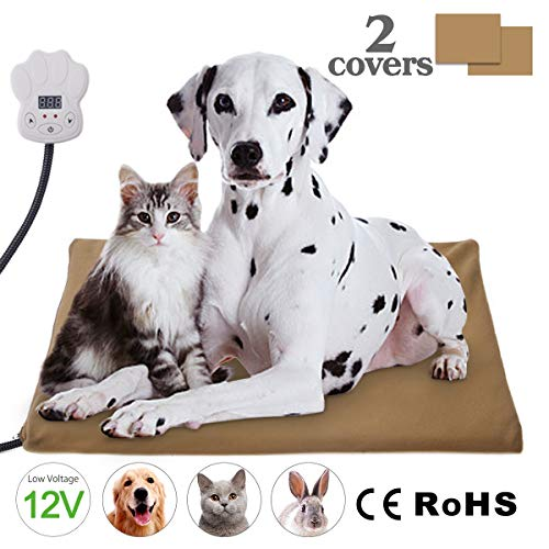 Josechan Haustiere Heizmatte Temperatur Einstellbar zwischen 25℃-55℃ Wärmematte Heizdecke Selbstheizende Decke für Katzen und Hunde (65 * 40cm)