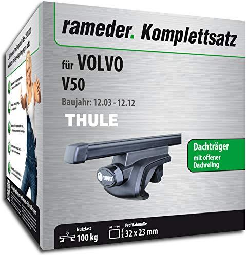 Rameder Komplettsatz, Dachträger SquareBar für Volvo V50 (115961-05090-148)