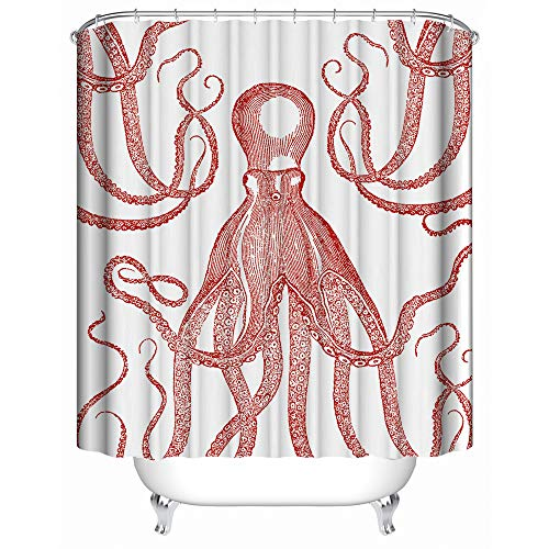 YAOFUTEE Shower Curtain Decor,Vintage Style Print of Red Octopus with Large Tentacles Sketch Art Waterproof Mildew Polyester Fabric Shower Curtains Bathroom 48