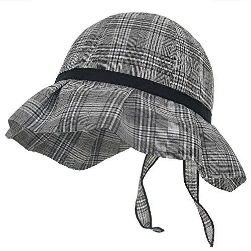 ililily Schottenmuster Muster als Druckmotiv Baumwolle Band Bonnet Fully Cover Beanie Hut , Black (Schwarz Plaid Ribbon)