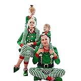 Weihnachten Schlafanzug Familien Outfit Mutter Vater Kind Baby Weihnachte Kostüm Gestreift Pajama Langarm Nachtwäsche Print Sleepwear Top Hose Set von Innerternet