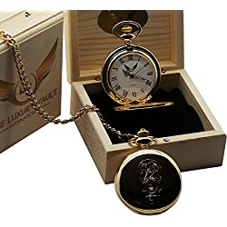 David Bowie Signed Gold Pocket Watch with Image Luxury 24 Carat Plated in Wooden Gift Case Rat Pack Fans