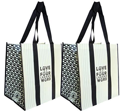 Buti Earth Bag Extra große wiederverwendbare Einkaufstaschen mit Griffen, verstärkter Boden, bleiben offen gefaltet, Premium abwischbare Taschen, 2 Stück, schwarze Spitzen Pet Love Tan & Brown Brown Böden