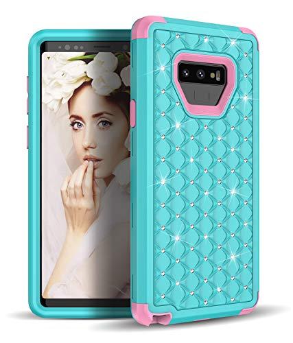 Samsung Galaxy Note 9Fall, vodico Girly Hybrid Luxus Diamond Nieten Strass Kristall Bling Sparkle stoßfest Defender Schutzhülle mit Dual Layer Harte PC + Weichem Silikon Bumper für Note 9, grün -