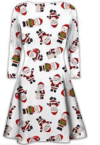 Damen der Frauen mit langen Ärmeln Olaf Santa Geschenke Glocken Lebkuchen-Weihnachtsweihnachts druckte Neuheit Ausgestelltes Swing-Kleid Top in Übergrößen, White Santa All over, XXL 48-50