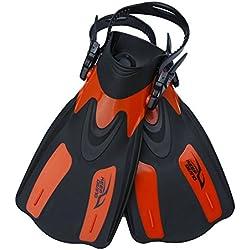 Tbest Aletas de Buceo y Natación para Hombre,Aleta Entrenamiento Professional Regulable Ajustable Diving Swim Fins Aletas de Snorkel Flipper Equipo de Buceo para Adultos Unisex (tamaño Grande-Rojo)