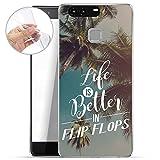 Finoo TPU Handyhülle für dein Huawei P9 Plus Made In Germany Hülle mit Motiv und Optimalen Schutz Silikon Tasche Case Cover Schutzhülle für Dein Huawei P9 Plus - Life is better in FlipFlops