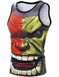 YiLianDaD Moda 3D Digital Graffiti Print Camisetas De Sin Mangas Tees Para Hombre GQq9osG