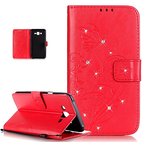 Galaxy J7 Case,Galaxy J7 Cover,ikasus Rhinestone Bing Glitter Diamond Embossing Flower Vines Butterflies Flip Premium PU Leather Fold Wallet Pouch Case Wallet Flip Cover Bookstyle Magnetic Closure with Card Slots & Stand Function Protective Case Cover for Samsung Galaxy J7 SM-A700F (2015),Red