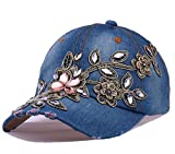 dy_mode Damen Jeans Kappe Basecap Baseball Cap Mütze Kappe mit Strasssteinen Glitzer - K003 (K003-Jeansblau)