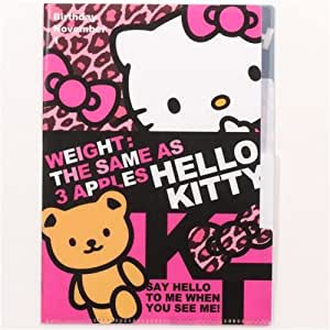 Mini chemise plastique A5 à 3 onglets léopard Hello Kitty