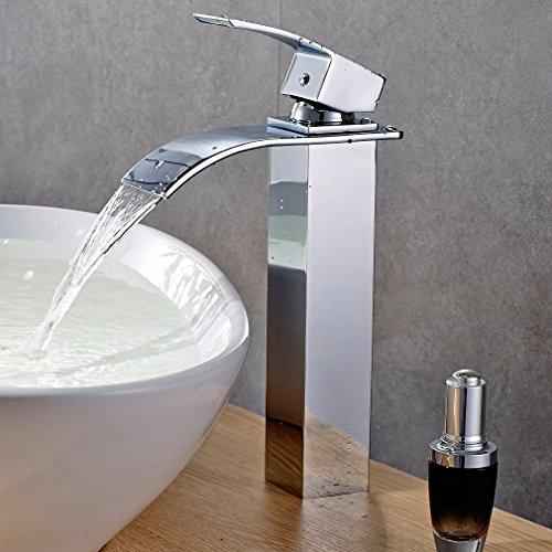 Auralum® Prolongada Alta Monomando Grifo De Lavabo Cascada Mezclador Monomando Para Lavabo Del Baño Grifo Del Fregadero - cromo