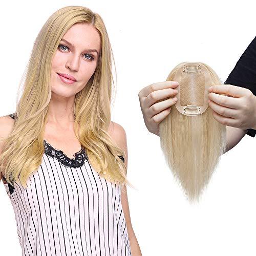 Hair topper donna capelli veri extension clip toupee remy human hair biondi toupet protesi naturali silk lace per top testa super realistico 40g/fascia unica (50cm, 60# biondo platino)
