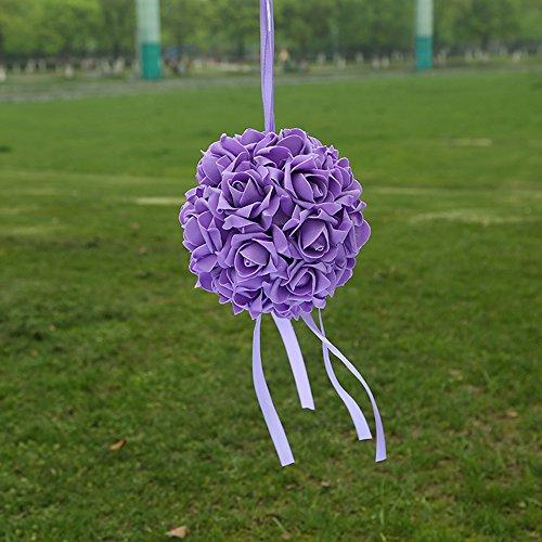 Guoyihua Blumenkugeln für Hochzeit, dekorative Blumen, künstliche Schaumstoffblumen, Rosenkugeln für Hochzeit, Tischdekoration, Schaumstoff, Violett (Grape Purple), 14 cm