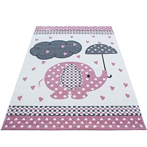 Kinderteppich Kinderzimmer Babyzimmer Niedlicher Elefant mit Wolke Grau Pink Weiß Oeko Tex, Maße:80x150 cm