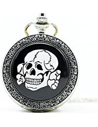 Fashion Silver Skull Pocket Watch Chain Vintage Pendant Pocket Watches Fashion Gift For Friend