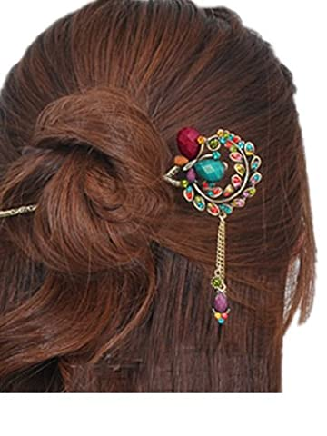 Colorful Vintage Retro Style Butterfly Beaded Antique Brass Hair Stick