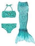 Le SSara Las muchachas cosplay traje de baño sirena Shell traje de baño 3pcs bikini conjuntos (140, H-verde)